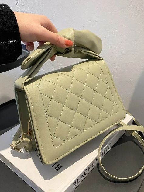 Knot Decor Quilted Satchel Bag