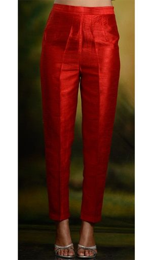 Look 1 - This is it but skinnier at the bottom - Red Skinny Cigarette TrousersSkinny pants and cigarette trousers in silk, cotton and lycra.Kaneesha Launches High Fashion Dresses for Mainstream US Customerssilk boxer shorts can come in a variety of d