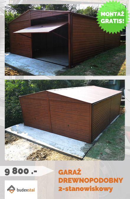 Garaz Drewnopodobny Blaszany Blaszak 6x7 2xbrama