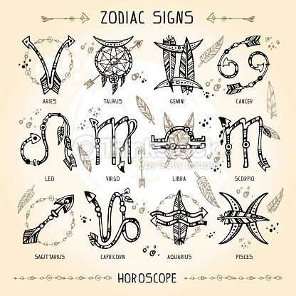 Set of hippie and bohemian style hand drawn zodiac signs. With decorative indian… Set of hippie and bohemian style hand drawn zodiac signs. With decorative indian and boho elements: arrows, feathers, indian ornament.