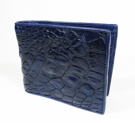 Genuine Crocodile Leather Skin Men/'s Money Clip Bifold Wallet Blue