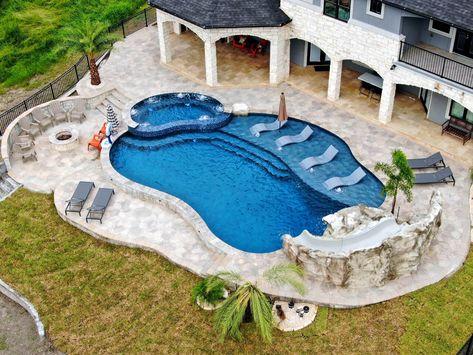 Backyard Pool Landscaping, Backyard Patio Designs, Swimming Pools Backyard, Swimming Pool Designs, Lap Pools, Indoor Pools, Pool Decks, Backyard Design With Pool, Backyard Beach