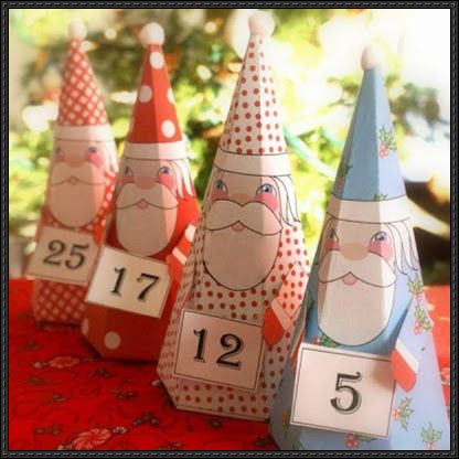 These christmas papercrafts are four printable santa claus gift - gift box templates free download