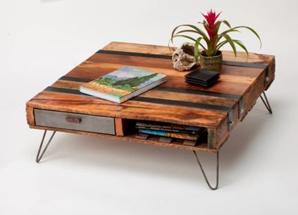 Upgrade your living room with this shabby chic industrial pallet table project. It's stylish and functional. #DIY #coffeetable #palletprojects