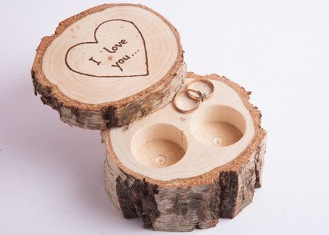 Ring Bearer Pillows, Ring Bearer Box, Ring Pillow, Ring Bearer Ideas, Birch Wedding, Rustic Wedding Rings, Wooden Ring Box, Wooden Rings, Rustic Ring Bearers