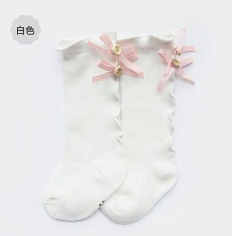 Farley bow lace socks - white ear bow / Newborn
