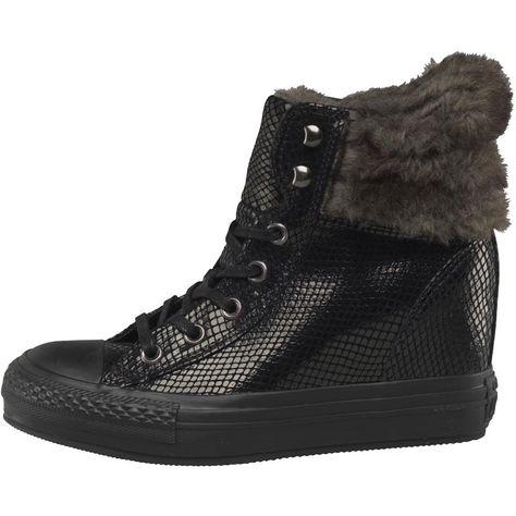 bd7a5a1162 Converse Womens CT All Star Hi Platform Plus Faux Fur Collar Trainers Black /Metallic