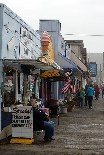 Depoe Bay, between Lincoln City & Newport OR.  Walked this sidewalk more times than I could count!!!