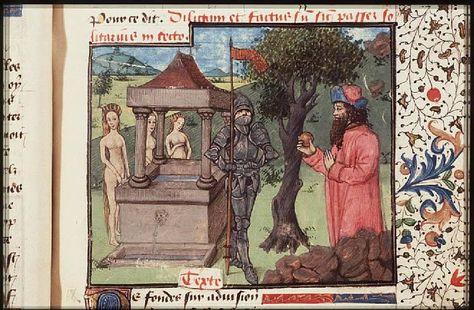 Atalanta races with her suitor Hippomenes who holds a golden apple ----The Hague, KB, 74 G 27 .   Christine de Pisan, L'Epistre d'Othea Place of origin, date:  Auvergne(?); c. 1450-1475       http://manuscripts.kb.nl/show/manuscript/74+G+27