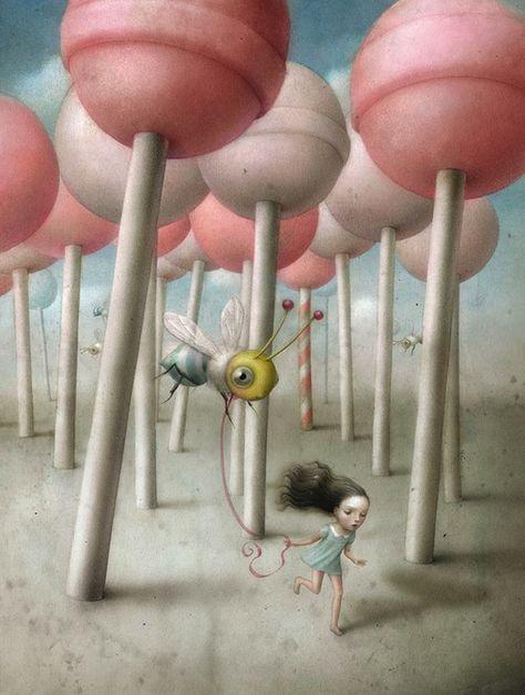I'd rather enjoy running through a pink lollipop forest.  Artwork by Nicoletta Ceccoli