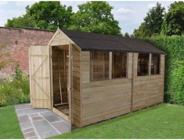 Forest Garden Overlap Pressure Treated 6x10 Double Door Apex Shed Shed Building A Shed Outdoor Sheds