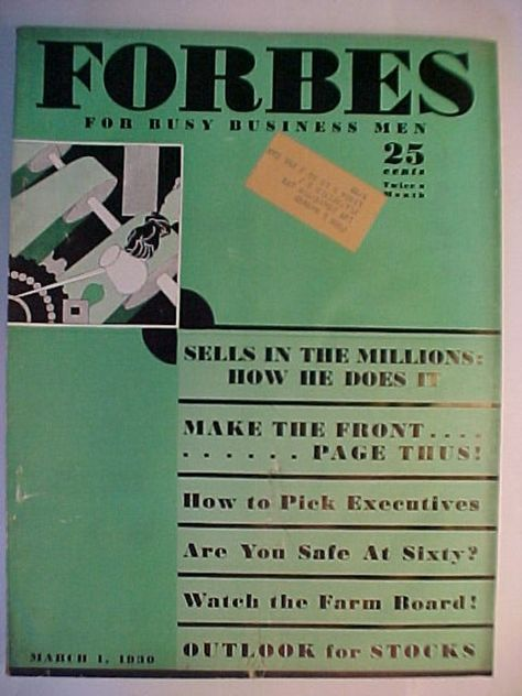 March 1, 1930 Forbes Magazine for Busy Business Men Nice Cover Art has 64 pages of ads and articles, Wall Street Stock Market Decor