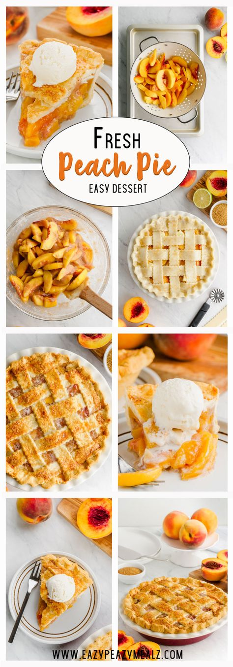 Peach pie is a warm, comforting pie that is layered with a light, flaky and buttery crust, stuffed with sweet peaches that is baked to perfection. Smells so good!