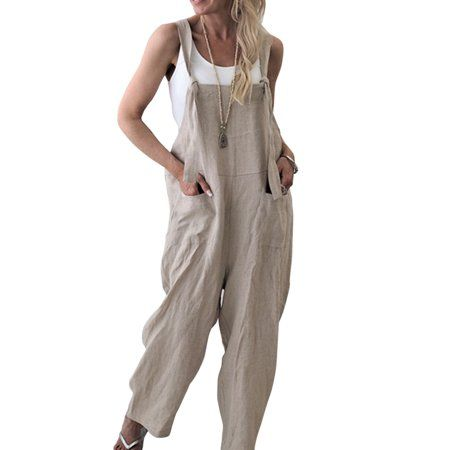 Women Plus Size Loose Linen Cotton Jumpsuit Playsuit Dungarees Trousers Overall