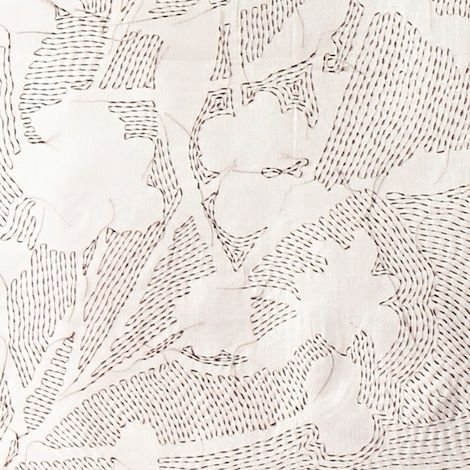 Shadow Embroidery with hand stitched floral patterns - textiles design; modern embroidery techniques // Ruth Singer