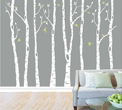 Amazoncom Set Of Birch Tree Wall Decal For Nursery Big White - Bambi love tree wall decals