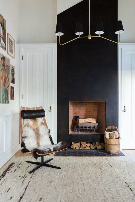 Monochromatic In The Hollywood Hills Black Fireplace Home