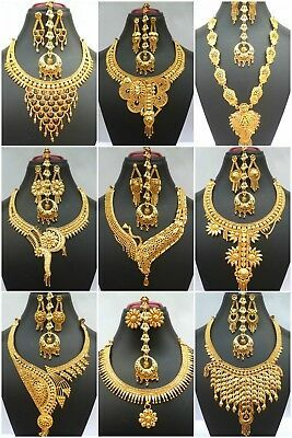Indian 22k Gold Plated Wedding Necklace Earrings Jewelry Variations Tikka Set Dubai Gold Jewelry Gold Necklace Indian Bridal Jewelry Gold Jewelry Fashion