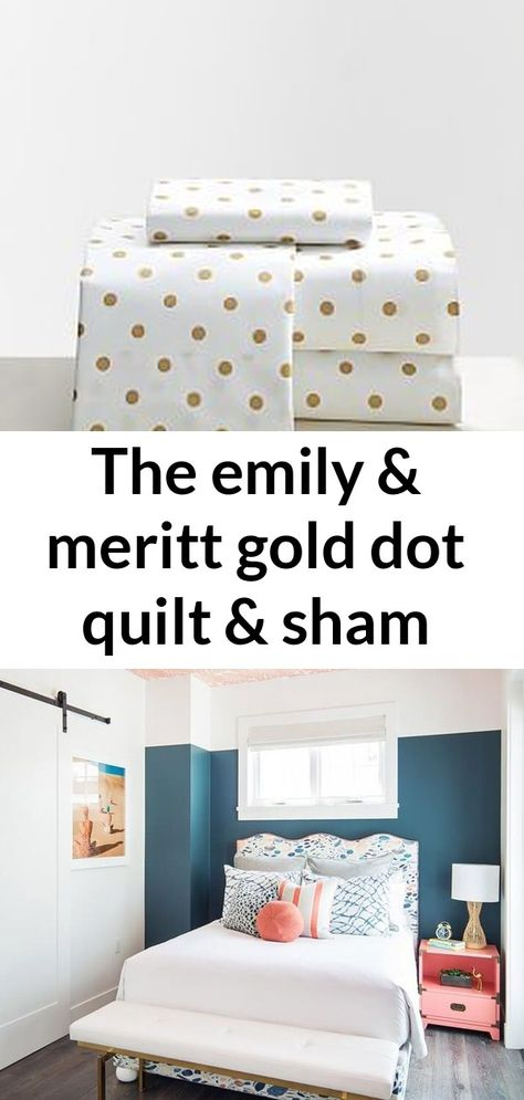 The emily & meritt gold dot quilt & sham