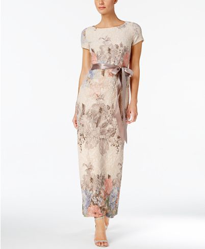 Adrianna Papell Floral Print Column Gown Reviews Dresses Women Macy S Wedding Guest Gowns Column Gown Fit And Flare Wedding Dress,Stella York Wedding Dress Prices