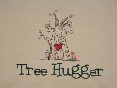 Tree Hugger From An Embroidery Library Design Merged With Heartwood