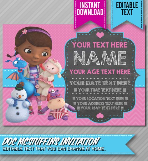 Doc Mcstuffins Party Invitations With Catchy Invitation Templates As A Result Of An Lication Using Felicitous Concept