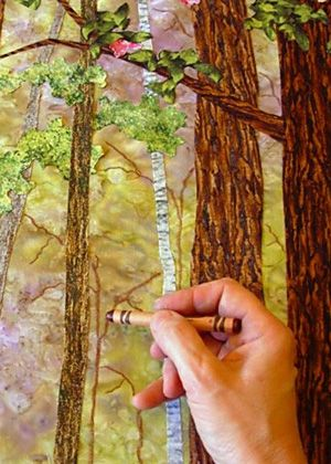 From Patchworks that Praise There are some great how-to's and tips on this page.  Who knew you could lift off crayon with clear tape? Must read for landscapes.