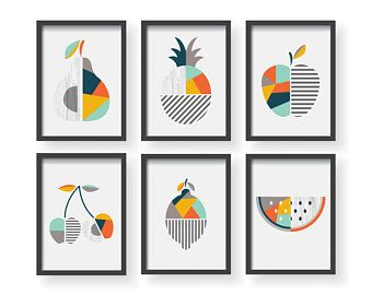 Modern Fruit Geometric Decor Yellow Kitchen Geometric Fruit Etsy In 2020 Modern Kitchen Wall Decor Etsy Art Prints Kitchen Prints