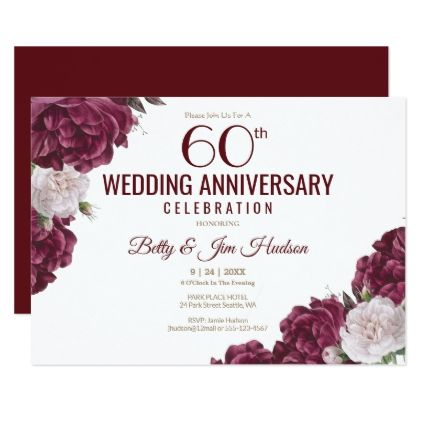 60th Wedding Anniversary Invitation Zazzle Com 60 Wedding