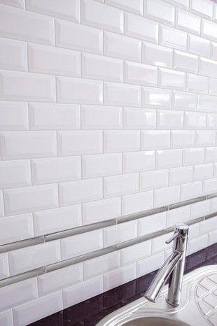 Faience Metro Blanc Biseaute Pour Application Murale L 7 5 L 15