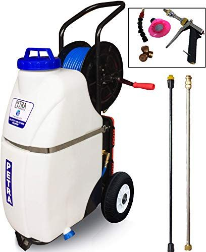 New Petra Battery Powered 12 Gallon Cart Sprayer The Beast Heavy Duty Commercial Sprayer With Custom Built Cart In 2020 Hose Reel Sprayers Electric Pressure Washer
