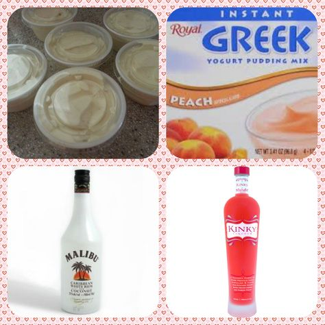Malibu Barbie Pudding Shots #1 1 small Pkg. Royal Peach Greek Yogurt instant pudding ¾ Cup Milk 1/2 Cup Malibu Rum 1/4 Cup Kinky Liqueur 8oz tub Cool Whip  Directions 1. Whisk together the milk, liquor, and instant pudding mix in a bowl until combined. 2. Add cool whip a little at a time with whisk. 3.Spoon the pudding mixture into shot glasses, disposable shot cups or 1 or 2 ounce cups with lids. Place in freezer for at least 2 hours