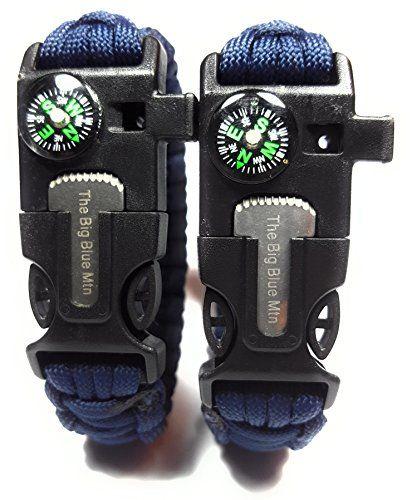 550 Paracord Survival Bracelet Whistle Flint Scraper Fire Starter Compass Kits