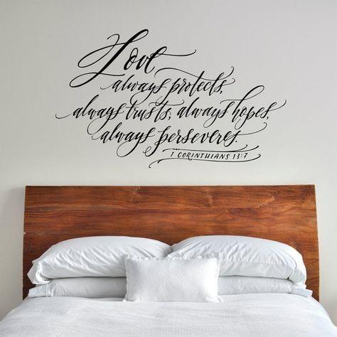 Love Always Protects Always Trusts Always Hopes 1 Corinthians 13 Master Bedroom Wall Decor Romantic Quote Christian Wall Decal Christian Wall Decals Master Bedroom Wall Decor Wall Decor Bedroom