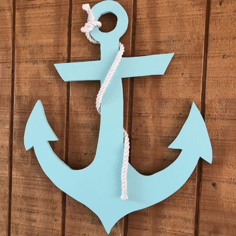 Wooden Nautical Anchor With Rope