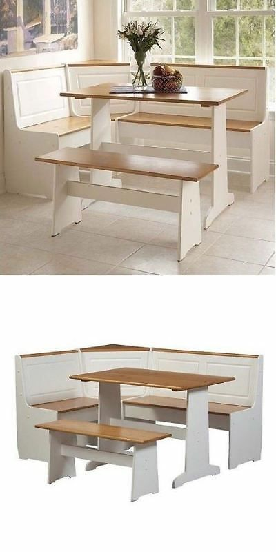 Details About 3 Pc White Wood Top Breakfast Nook Dining Set Corner
