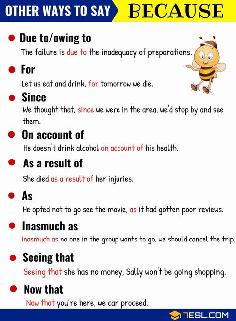 BECAUSE Synonym: List of 15 Synonyms for BECAUSE | English grammar