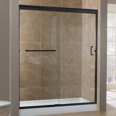 Hazelwood Home Gosson 60 X 76 Single Sliding Frameless Shower Door Finish Oil Rubbed Bronze Frameless Shower Doors Shower Doors Frameless Shower Oil rubbed bronze bathtub doors