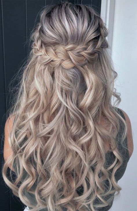 30 Wedding Hairstyles Half Up Half Down With Curls And Braid wedding hairstyles. - - 30 Wedding Hairstyles Half Up Half Down With Curls And Braid wedding hairstyles half half curls braidhalf up half down white curls with braids thestyleroomgc Wedding Hairstyles Half Up Half Down, Wedding Hair Down, Wedding Hairstyles For Long Hair, Wedding Hair And Makeup, Hairstyle Wedding, Wedding Braids, Everyday Hairstyles, Fancy Hairstyles, Braided Half Up Half Down Hair