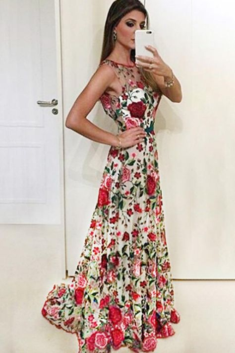 5fcd21f0a9 Elegant A line Red Floral Straps Backless Prom Dresses