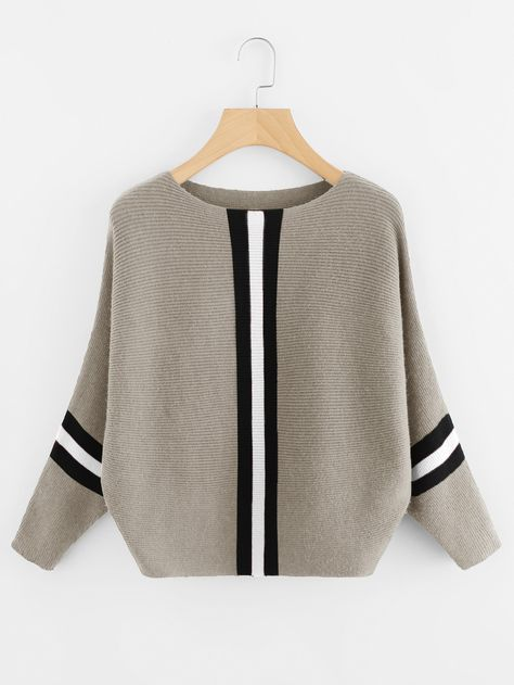 Shop Contrast Striped Panel Ribbed Sweater online. SheIn offers Contrast Striped Panel Ribbed Sweater & more to fit your fashionable needs.