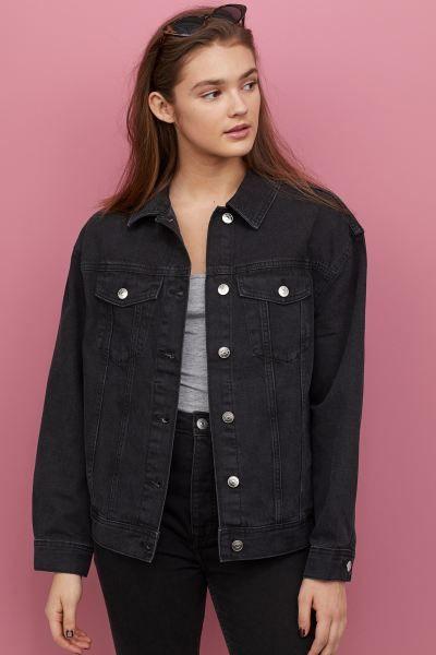Denim Jacket Black H M Gb In 2020 Black Denim Jacket Black Denim Jacket Outfit Oversized Black Denim Jacket