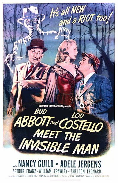 Abbott And Costello Meet The Invisible Man A Poster For Charles Lamont S 1951 Comedy Horror Film Abbott And Costello Meet The Invisible Man Starring Lou Costel Abbott And Costello Invisible Man Comedy