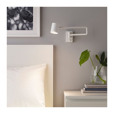 NYMÅNE Wall lamp with swing arm + LED bulb white | Kleines