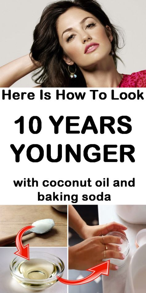 Here is how to look 10 years younger with coconut oil and baking soda. #wrinkles #blackheads #coconutoil #saggingskin