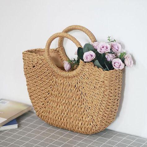 Details about  /Women Rattan Handbags Summer Beach Straw Bags Wicker WOVEN LARGE tote bucket bag