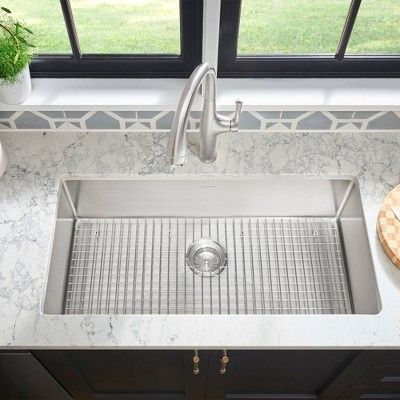 American Standard 18sb 10351800 Pekoe 35 Single Basin Stainless Steel Kitchen Sink For Undermount Installations Silver In 2020 Stainless Steel Kitchen Sink Stainless Steel