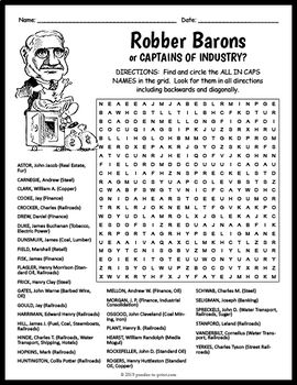 Robber Barons or Captains of Industry Word Search - Gilded ...