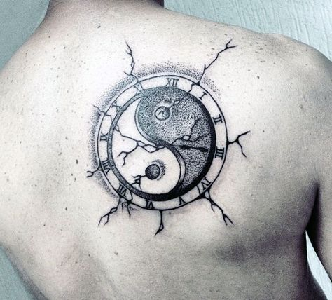 Male Back Clock Yin And Yang Tattoo Designs