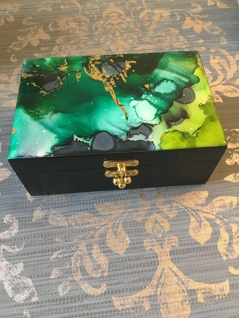 Mixed Media Collage French Country Cottage Chic Decorative Box OOAK in Gold /& Green Handcrafted Heirloom Gift Home Decor Jewelry Box